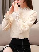 זול חולצה-חולצה בגודל של אישה אסיה - צוואר בצבע מלא בצבע