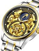 お買い得  ラグジュアリー腕時計-男性用 機械式時計 自動巻き シルバー 耐水 夜光計 ムーンフェイズ ハンズ ぜいたく ファッション - ホワイト ブラック ブルー