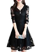 זול תחרה רומטנית-מעל הברך תחרה, אחיד - שמלה גזרת A בסיסי בגדי ריקוד נשים