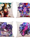 halpa Digitaalikellot-4 onnellinen pääsiäisen pellava neliö koristeellinen heittää tyyny tapauksissa sohva tyyny kattaa 18x18