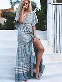 hesapli Maksi Elbiseler-Kadın's Zarif Çan Elbise - Geometrik, Bölünmüş Derin V Maksi