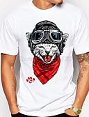 hesapli Erkek Tişörtleri ve Atletleri-Erkek Yuvarlak Yaka İnce - Tişört Hayvan Büyük Bedenler Beyaz