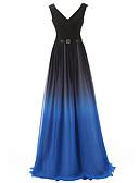 hesapli Gece Elbiseleri-A-Şekilli V Yaka Süpürge / Fırça Kuyruk Şifon Kurdeleler / Kırma Dantel ile Resmi Akşam Elbise tarafından JUDY&JULIA