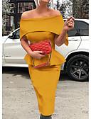 hesapli Print Dresses-Kadın's İnce Kılıf Elbise - Solid, Fırfırlı Düşük Omuz Midi