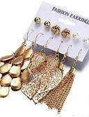 זול טישרט-בגדי ריקוד נשים עגילים סט פיליגרן Leaf Shape מסוגנן עגילים תכשיטים זהב עבור מתנה יומי 6 זוגות
