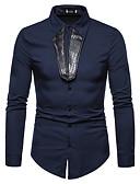 رخيصةأون قمصان رجالي-رجالي قميص ياقة كلاسيكية لون سادة أسود L