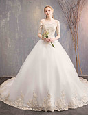 cheap Wedding Dresses-Ball Gown Off Shoulder Chapel Train Lace / Lace Over Satin Made-To-Measure Wedding Dresses with Lace by LAN TING Express / Bell Sleeve