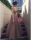 cheap Prom Dresses-A-Line Bateau Neck Floor Length Tulle / Sequined Bridesmaid Dress with Sequin by LAN TING Express