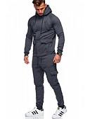 hesapli Erkek Kapşonluları ve Svetşörtleri-Erkek Sokak Şıklığı Activewear Seti - Solid