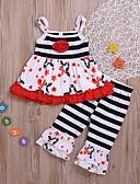 billige Pigekjoler-Børn / Baby Pige Basale Trykt mønster Uden ærmer Bomuld / Polyester Tøjsæt Sort