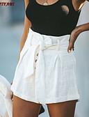 halpa Shortsit-Naisten Perus / Katutyyli Löysä Chinos housut / Shortsit Housut - Yhtenäinen Korka vyötärö Puuvilla Valkoinen M L XL