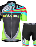 cheap Cycling Jersey & Shorts / Pants Sets-Malciklo Boys' Girls' Short Sleeve Cycling Jersey with Shorts - Black Floral Botanical Bike Clothing Suit UV Resistant Breathable Moisture Wicking Quick Dry Reflective Strips Sports Lycra Floral