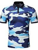 cheap Pocket Watches-Men's EU / US Size Polo - Camo / Camouflage Print Shirt Collar Blue XL