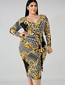hesapli Kadın Elbiseleri-Kadın's Temel Bandaj Kılıf Elbise - Geometrik Midi