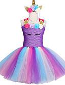 זול שמלות לבנות-2-12 שנים תינוקת ילדה מפוארת טו השמלה פוני Unicorn סרט ראש ליל כל הקדושים