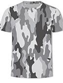 Недорогие Мужские футболки и майки-Муж. С принтом Большие размеры - Футболка Круглый вырез Классический / Армия 3D / камуфляж Серый US42 / С короткими рукавами