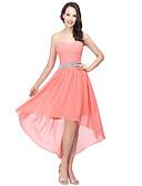 preiswerte Abendkleider-A-Linie Sweetheart Asymmetrisch Chiffon Kleid mit Perlenstickerei / Gerafft durch JUDY&JULIA