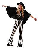 preiswerte Abendkleider-Cosplay Retro Vintage Hippie 1970er Disko Hosen Hose Damen Kostüm Schwarz / Schwarz / Weiß Vintage Cosplay Party Alltag Hosenanzug