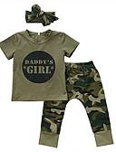 levne Sady oblečení na miminka-Dítě Dívčí Základní Tisk Tisk Krátký rukáv Standardní Bavlna Sady oblečení Armádní zelená