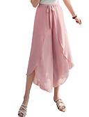 זול סרבלים ואוברולים לנשים-בגדי ריקוד נשים סגנון רחוב משוחרר רגל רחבה / צ'ינו מכנסיים - אחיד מותניים גבוהים אפור כחול בהיר חאקי L XL XXL