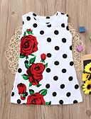 Χαμηλού Κόστους Βρεφικά φορέματα-Μωρό Κοριτσίστικα Μπόχο Πουά / Φλοράλ Στάμπα Αμάνικο Ως το Γόνατο Βαμβάκι / Πολυεστέρας / Spandex Φόρεμα Λευκό