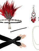 cheap Historical & Vintage Costumes-Charleston Vintage 1920s The Great Gatsby Costume Earrings Set Women's Flapper Headband Necklace Red / Red / black / Golden Vintage Cosplay Festival / Feather / Gloves