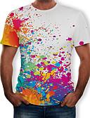 abordables Camisetas y Tops de Hombre-Hombre Estampado Camiseta, Escote Redondo Arco iris Blanco XL