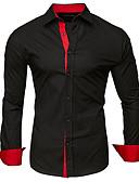 billiga T-shirts och brottarlinnen till herrar-Lappverk, Enfärgad / Färgblock Plusstorlekar Bomull Skjorta Herr Klassisk krage Mörkgrå XXL