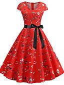 preiswerte Retro-Königin-Damen Retro Grundlegend A-Linie Kleid - Patchwork, Blumen Knielang