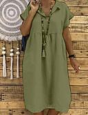 זול שמלות מקרית-מידי פרנזים, אחיד - שמלה ישרה בסיסי בגדי ריקוד נשים