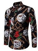 levne Pánské košile-Pánské - Geometrický Košile Černá XXL