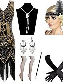 abordables Disfraces Históricos y Vintage-Vintage Años 20 Gatsby Disfraz Mujer Collar Diadema de estilo flapper Pendiente Rojo / negro / Azul / Oro + negro Cosecha Cosplay Festival