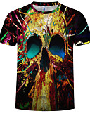 abordables Camisetas y Tops de Hombre-Hombre Talla EU / US Estampado Camiseta, Escote Redondo Bloques / 3D / Cráneos Negro XXXXL