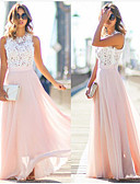 cheap Evening Dresses-A-Line Jewel Neck Floor Length Chiffon Formal Evening Dress with by LAN TING Express