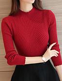 povoljno Ženski džemperi-Žene Jednobojni Dugih rukava Pullover, Uz vrat Proljeće / Jesen Red / Blushing Pink / Sive boje One-Size