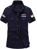abordables Camisas de Hombre-Hombre Algodón Camisa Delgado Un Color Azul Piscina XXXXL