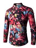 voordelige Herenoverhemden-Heren Overhemd Bloemen Slank Klaver