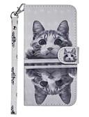 זול מגנים לטלפון-מגן עבור נוקיה 7.1 7.1 / Nokia 6 2018 / Nokia 5 ארנק / מחזיק כרטיסים / עם מעמד כיסוי מלא חתול קשיח עור PU