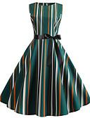 preiswerte Retro-Königin-Damen Grundlegend Hülle Kleid Gestreift Knielang