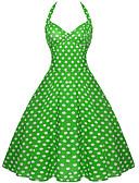 hesapli Kadın Elbiseleri-Kadın's Temel Çan Elbise - Yuvarlak Noktalı, Arkasız Desen Midi