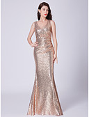 cheap Bridesmaid Dresses-Mermaid / Trumpet V Neck Floor Length Sequined Bridesmaid Dress with Sequin by LAN TING Express