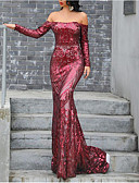 cheap Evening Dresses-Mermaid / Trumpet Off Shoulder Sweep / Brush Train Taffeta / Sequined Dress with Sequin by LAN TING Express