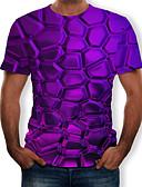 זול טישרטים לגופיות לגברים-3D צווארון עגול טישרט - בגדי ריקוד גברים דפוס סגול / שרוולים קצרים