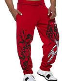 お買い得  メンズパンツ&ショーツ-男性用 活発的 スウェットパンツ パンツ - ソリッド ブラック ルビーレッド XL XXL XXXL