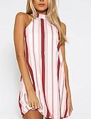 hesapli Mini Elbiseler-Kadın's Temel A Şekilli Elbise - Çizgili, Desen Boyundan Bağlamalı Diz üstü