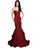 cheap Evening Dresses-Mermaid / Trumpet Strapless Court Train Satin Dress with Tier / Cascading Ruffles by JUDY&JULIA