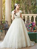 ราคาถูก ชุดแต่งงาน-บอลกาวน์ ตักคอ ชายกระโปรงชาเปิล ลูกไม้ / Tulle ชุดแต่งงานที่ทำขึ้นเพื่อวัด กับ ของประดับด้วยลูกปัด / เข็มกลัด โดย LAN TING BRIDE®