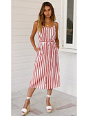 cheap Bikinis-Women's Boho A Line Sundress - Striped Lace up Print Blue Blushing Pink Yellow M L XL