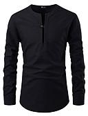 """זול חליפות-אחיד צווארון V / צוארון עם כפתור בסיסי האיחוד האירופי / ארה""""ב גודל כותנה, חולצה - בגדי ריקוד גברים ניטים שחור / שרוול ארוך"""
