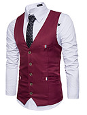 cheap Men's Blazers & Suits-Men's Vest, Solid Colored V Neck Polyester Wine / Light Blue / Khaki